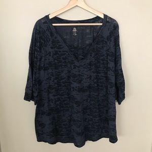 LOVE & LEGEND Burnout T-shirt Criss Cross Neckline